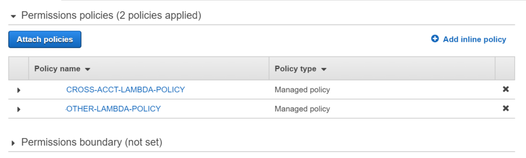 Create IAM policy lambda example